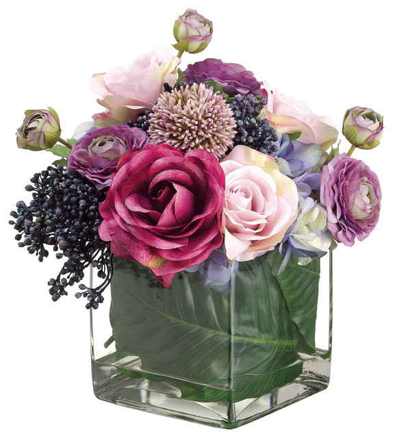 Hydrangea Rose Allium And Ranunculus Arrangement In Glass Vase