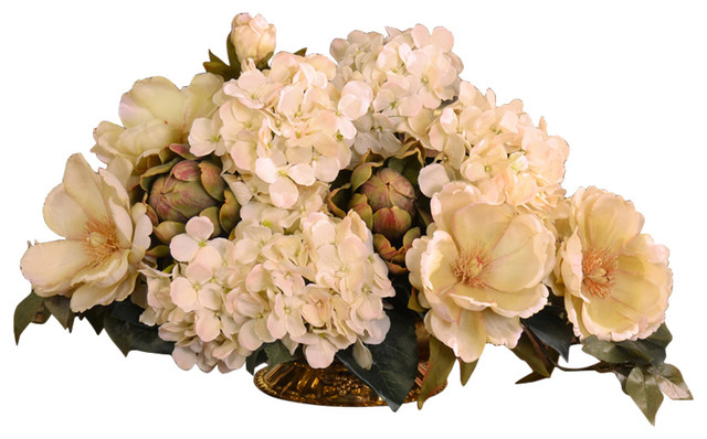 Cream magnolia and hydrangea silk floral centerpiece traditional cream magnolia and hydrangea silk floral centerpiece mightylinksfo
