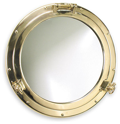 Heavy duty solid brass porthole mirror by shiplights for for Porthole style mirror
