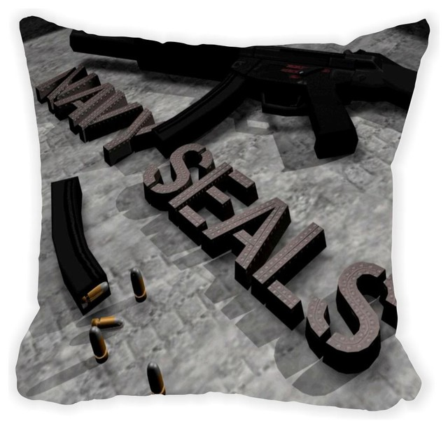 Black Microfiber Throw Pillows : Navy Seals Microfiber Throw Pillow - Contemporary - Decorative Pillows - by Rikki Knight LLC