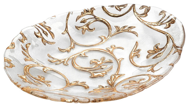 Bisanzio Centerpiece Tray, Clear and Gold