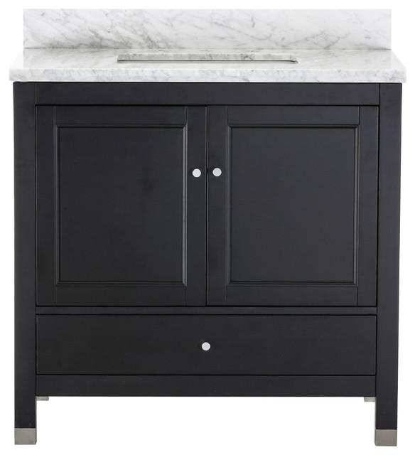 rohan contemporary black bathroom vanity with marble top 36 - Houzz Bathroom Vanities