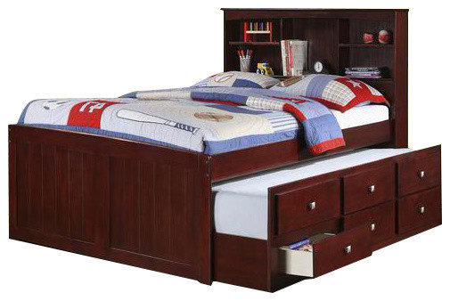 Captains Full Bed For Kids With Bookcase Headboard.