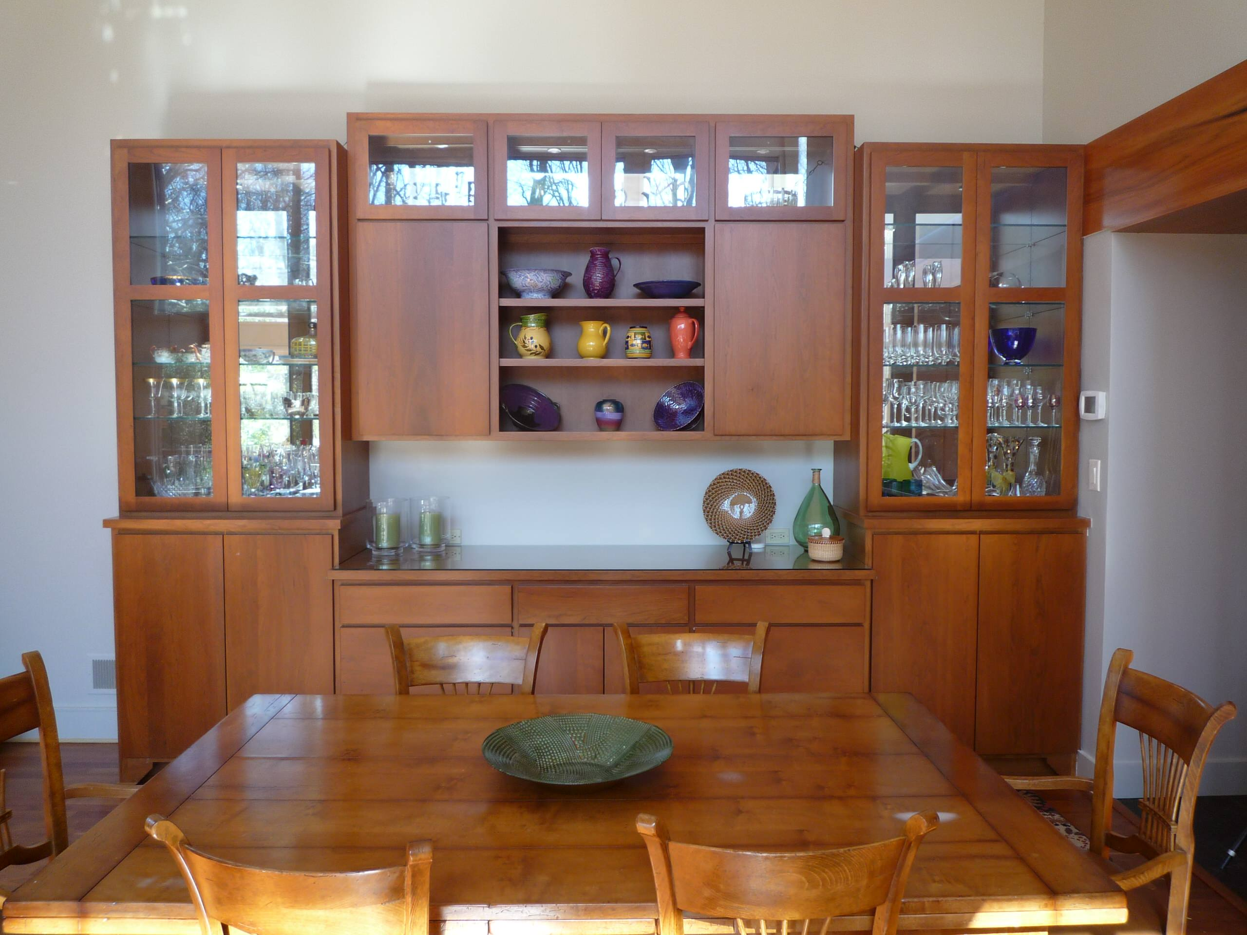Contemporay, cherry, earthy, paneled ceiling kitchen