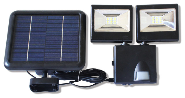 solar dualhead flood light with motion sensor and