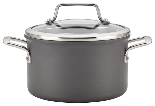 Authority Hard-Anodized Nonstick 4-Quart Covered Saucepot, Gray.