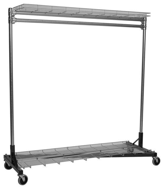 "48"" Portable Clothes Rack With Shelves, Black."