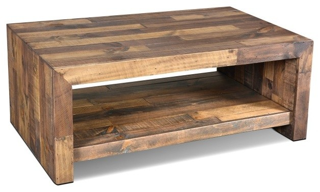fulton rustic solid wood coffee table - rustic - coffee tables