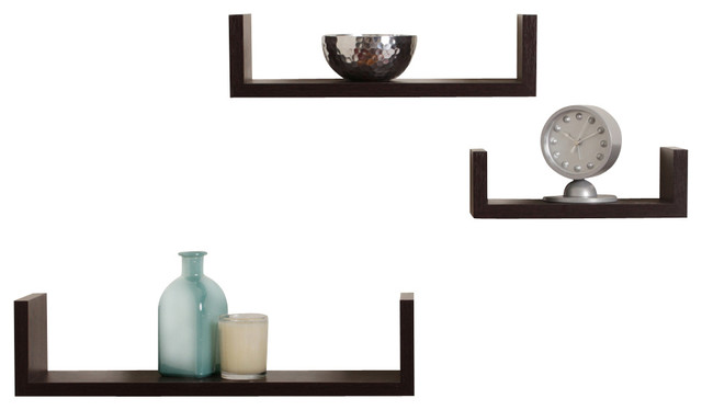 "3-piece veneer floating ""u"" shelves, beech finish - contemporary 3 Wall Shelves"
