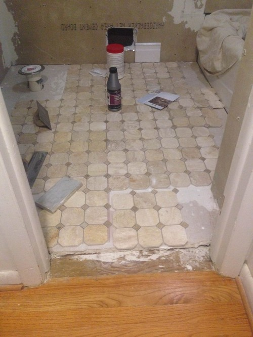 "Tiling Bathroom Door Threshold tile threshold between bathroom and hardwood floor - 1/2"" reducer"