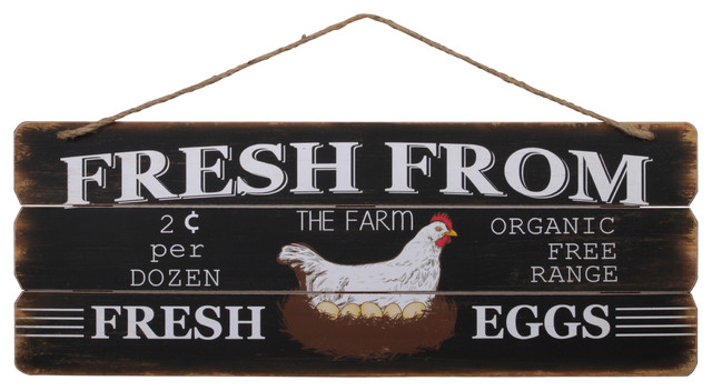 Fresh From Farm Organic Free Range Fresh Eggs Farmhouse Wood Wall Art Black