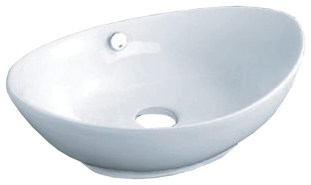 "Vanity Fantasies ""canoe"" Porcelain Oval Shaped Vessel Sink, White."