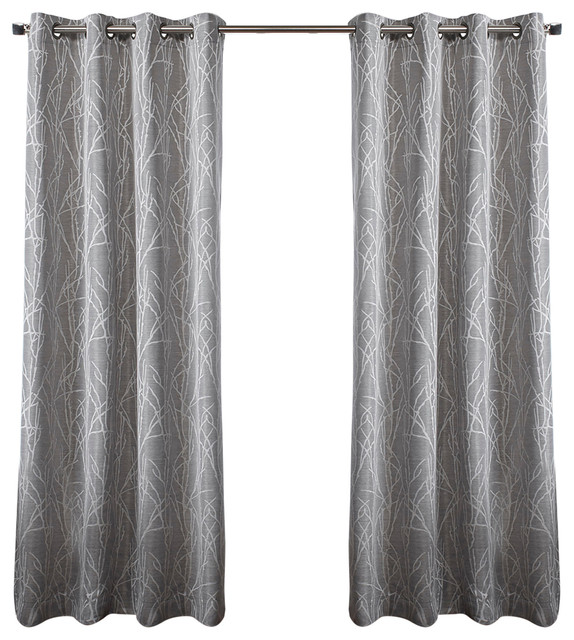 exclusive home finesse grommet top 96inch curtain panel set of 2 ash - 96 Inch Curtains