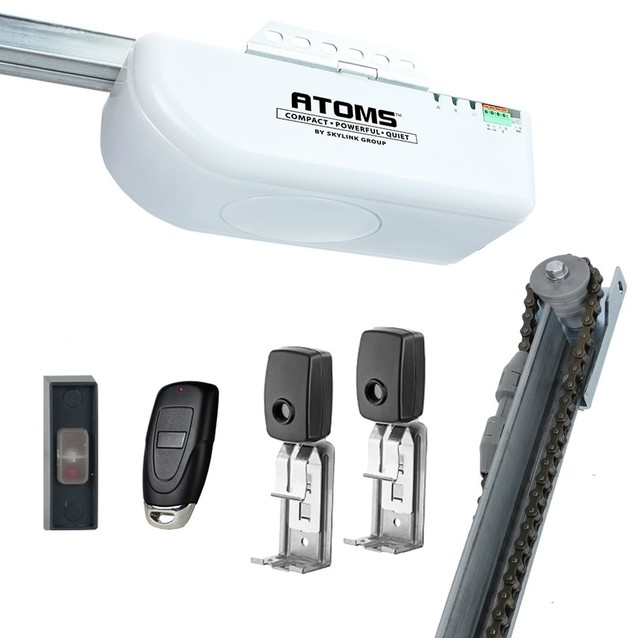 atoms 12 hps extremely quiet chain driven garage door opener with builtin