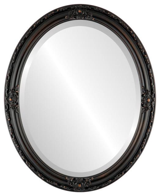 "Jefferson Framed Oval Mirror In Rubbed Bronze, 26""x32""."