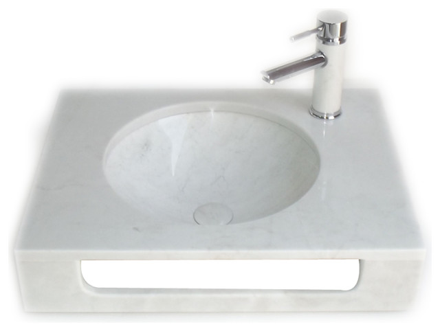 Eviva Pasadena 24 In. White Carrara Marble Sink.