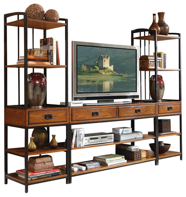 modern craftsman 3piece center distressed oak - Distressed Tv Stand
