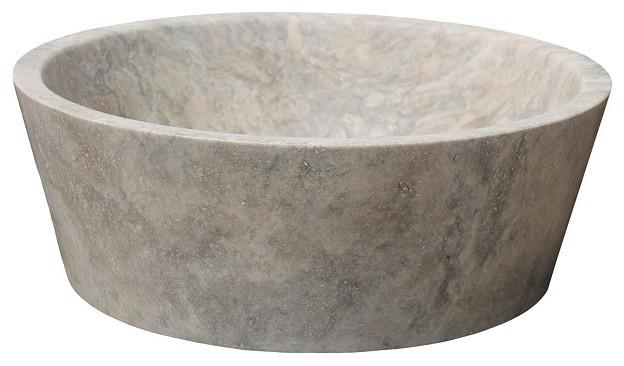 Tapered Natural Stone Vessel Sink, Antico Travertine