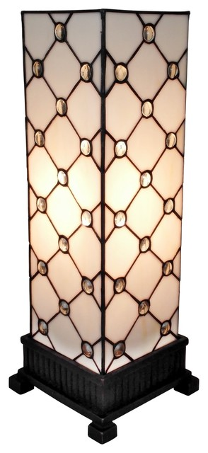 Amora Lighting Tiffany Style Table Lamp White Jewel 18 In.
