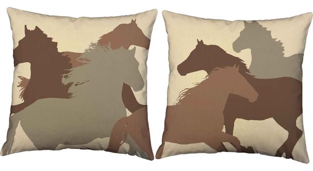 Decorative Pillows Horses : Shop Houzz oBedding Running Horses Throw Pillows - Decorative Pillows