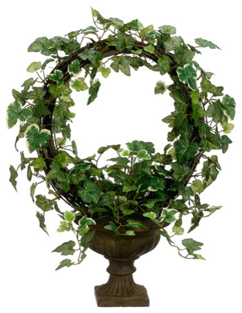 silk plants direct ivy wreath topiary pack of 2 traditional