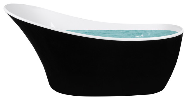 Modern Acrylic Freestanding Soaking Tub, Black.