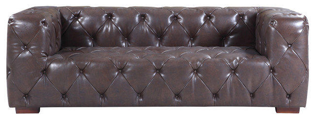 Large Tufted Real Leather Chesterfield Sofa, Dark Brown