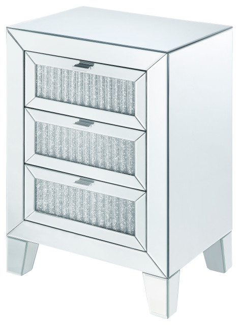 Mirrored Bedside Table With Drawers: Benzara Contemporary Style Wooden Mirrored Night Table