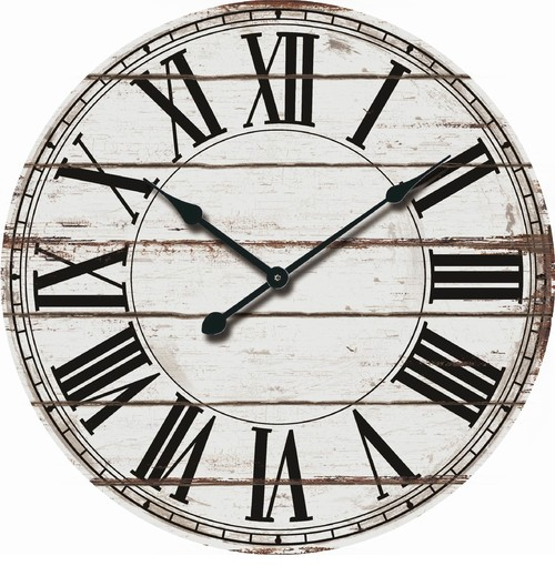 Wood Wall Clock, White and Black