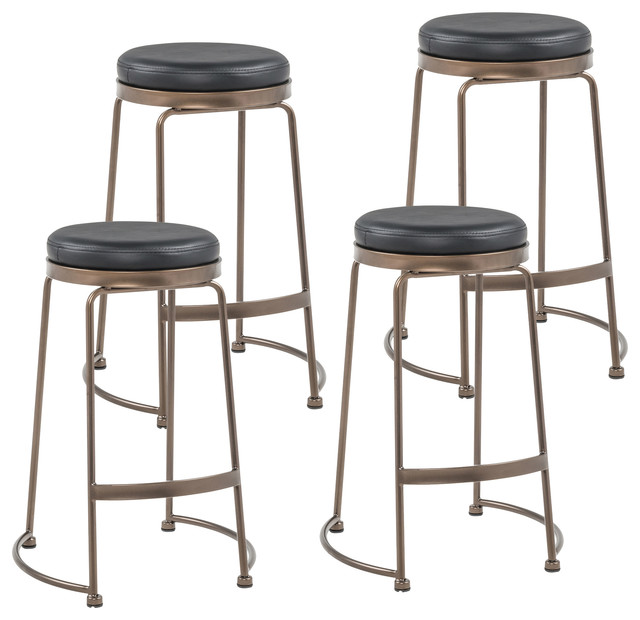 Marvelous Faux Leather Metal Counter Stool Set Of 4 Copper Black Gmtry Best Dining Table And Chair Ideas Images Gmtryco