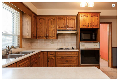 80s oak kitchen needs short term paint facelift makeover - Oak Kitchen Cabinet Makeover