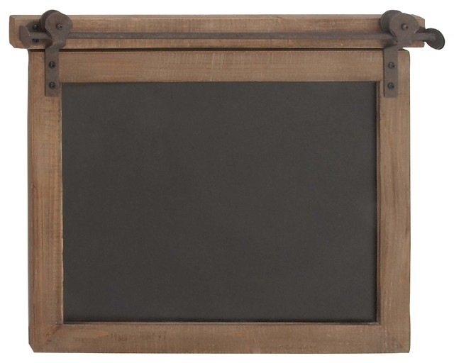 "Farmhouse Wood And Metal Wall Chalkboard, 17"". -1"