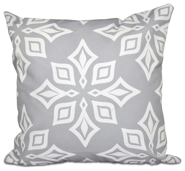"Beach Star, Geometric Print Pillow, Gray, 18""x18"""