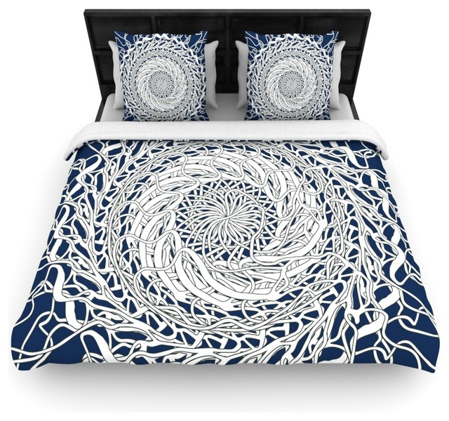 Patternmuse Mandala Spin Navy Blue White Cotton Duvet Cover Twin