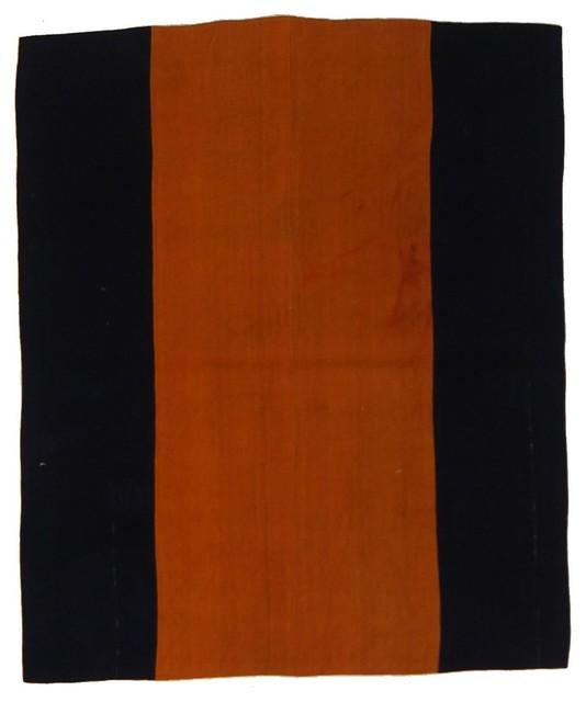 Kelim Stripe Handwoven Runner, Black and Orange, 80x345 cm