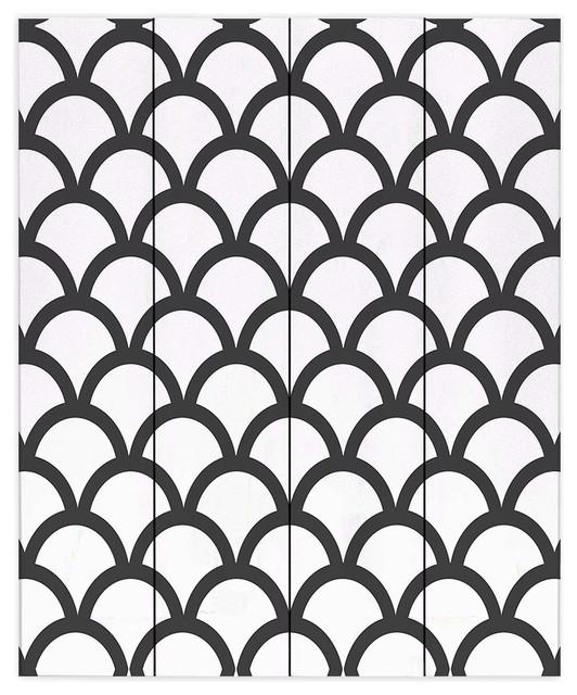 White Scallop Pattern Wood Plank Wall Art