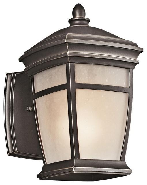 Kichler Mcadams 1-Light Small Outdoor Wall Lantern, Rubbed Bronze.