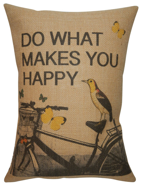 "Bike Bird Burlap Pillow, 12""x16""."