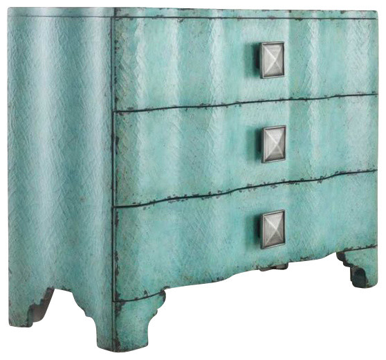 Melange Turquoise Crackle Chest Transitional Accent Chests And Cabinets