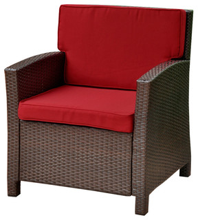 Lisbon Resin Wicker Contemporary Deep Seat Chair with Cushion,Chocolate