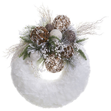 Silk Plants Direct Berry, Pine And Fur Wreath, Set Of 1.