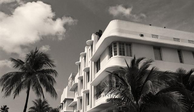 Miami beach art deco buildings miami florida fine art black white photography