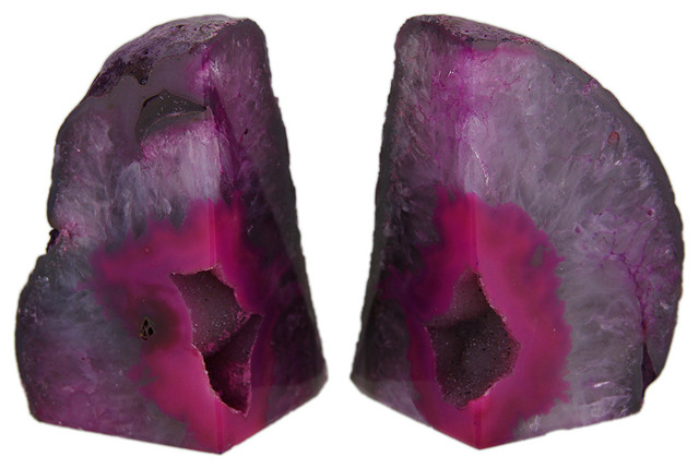 Small Polished Pink Brazilian Agate Geode Bookends