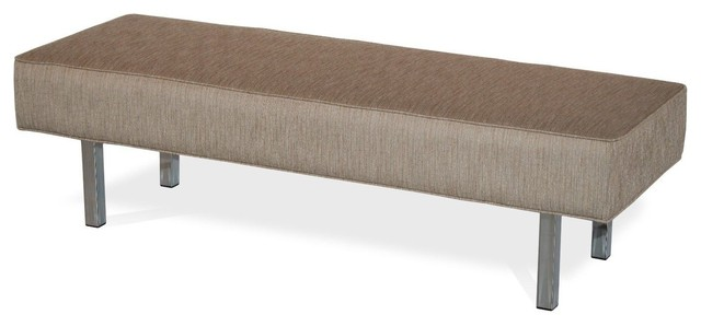 Fabric Upholstered Bench, Chrome Post Leg. -1