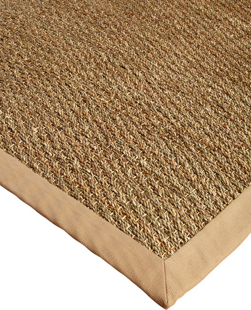Maritime Seagrass Rug - Sage/khaki, Handcrafted, Cotton Border, Beige, 6 Ft. X.