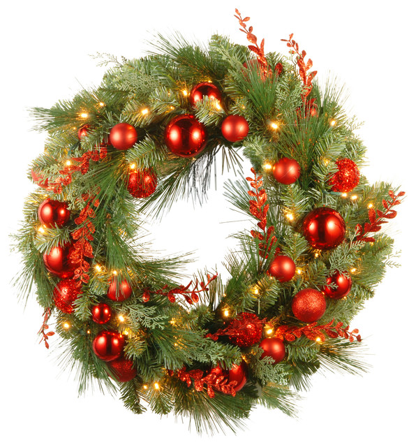 """Christmas Mixed Wreath W/ Battery Operated Warm White Led Lights, 30""""."""