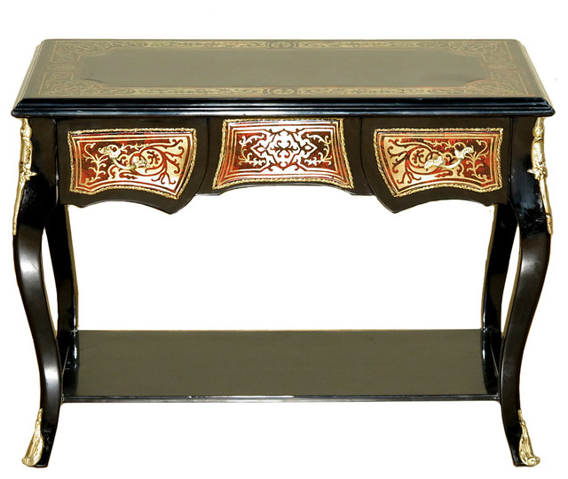 Consigned Antique French Style Black Boulle Low Console Table