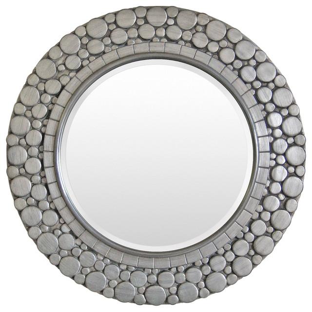 "Surya Wall Decor Mirror, Silver, Round 36""."