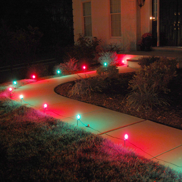 Electric Pathway Lights, Red And Green.