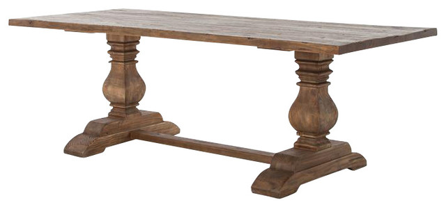 Reclaimed wood trestle dining table traditional dining for Traditional dining table for 8